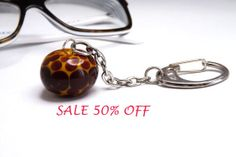 SALE 50 OFF  keychain with handblown glass bead by amabito on Etsy, €5.00