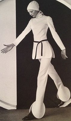 Pierre Cardin Space Age 60s odd unique vintage styles pant suit modern mod white tunic hat pants designer couture