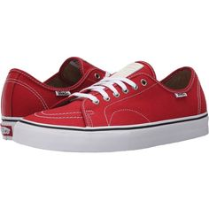 Vans AV Classic (Red/White) Men's Skate Shoes ($40) ❤ liked on Polyvore featuring men's fashion, men's shoes, men's sneakers, red, mens sneakers, mens white shoes, vans mens shoes, mens lace up shoes and mens red sneakers