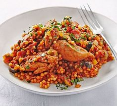 chicken stew with giant couscous This healthy Moroccan-style one-pot can be slow-cooked and dished up at different times - ideal for busy householdsThis This may refer to: Slow Cooked Meals, Slow Cooker Recipes, Cooking Recipes, Slow Cooking, Bbc Good Food Recipes, Dinner Recipes, Healthy Recipes, Bbc Recipes, Healthy Food