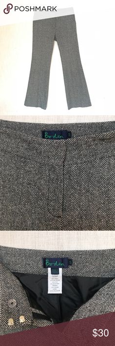 "Boden Herringbone Tweed Pants, Size US 6, Career Boden tweed herringbone pants in size US 6.   Luxurious and quality made feel, consisting of wool, polyester, silk and a little bit of spandex to provide just the right amount of give and warmth for comfort.   Tag says 10r but this is UK sizing   Measurements when laying flat 28"" waist 9.5"" rise  30.5"" inseam  Thanks for checking out my closet. Don't forget to heart your favorite pieces to bookmark for later.   Boden Business Wear Pants Wool…"