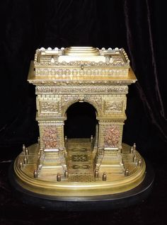 Wonderful Grand Tour Bronze Sculpture Of the 'Arc de Triomphe' made in the Late 19th C, circa 1890. Set On A Black Marble Base, the Sculpture features a Secret Lid Compartment On Top. Dim: H: 8.5 in. (22 cm), W: 9.5 in. (24 cm), D: 7 in. (18 cm).