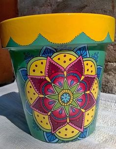 Result of image for painted pots Flower Pot Art, Flower Pot Design, Clay Flower Pots, Flower Pot Crafts, Painted Clay Pots, Painted Flower Pots, Hand Painted, Clay Pot Projects, Clay Pot Crafts