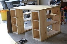 Build your own work station! :D this is EXACTLY what I need. Craft sewing desk table