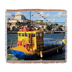 Rabelo boat, Porto, Portugal Woven Blanket on CafePress.com