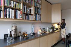bookshelf in the kitchen