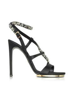 ROBERTO CAVALLI Black Satin and Crystals Sandals    $1410 BUY ➜ http://shoespost.com/roberto-cavalli-black-satin-crystals-sandals/