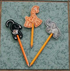 Felt Emboidered Pencil topper  GIRAFFE by BusybeeHolidays on Etsy