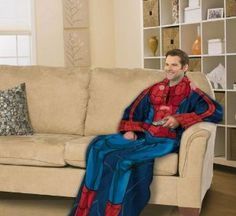 Spiderman Comfy Throw Blanket With Sleeves #spiderman #marvel #cravehunter