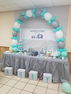 LAttLiv Balloons 56 Pcs Baby Shower Boy Balloons Latex & Foil/Mylar Letters Balloons Baby Boys Birthday Balloons Party Decoration for Baby Shower Birthday Baptism Christening- Silver & Ivory & Turquoise - Baby Shower Ideas Decoracion Baby Shower Niña, Idee Baby Shower, Girl Shower, Baby Shower Gifts, Baby Shower Table Set Up, Boy Baby Shower Cakes, Baby Shower Cakes For Boys, Unique Baby Shower Themes, Baby Shower Decorations For Boys