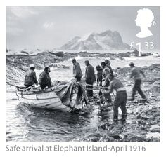 2016 Postage Stamp of Shackleton and the Endurance Expedition - Safe arrival at Elephant Island - April Rainforest Project, Franklin Expedition, Heroic Age, Australian Photography, Postage Stamp Art, Exploration, Fauna, British History, Stamp Collecting