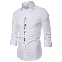 BrosWear Letter Placket Print Long Sleeve Shirt Shirt Sleeves, Long Sleeve Shirts, Business Shirts, Shirt Style, Lettering, Suit Shirts, Drawing Letters, Brush Lettering