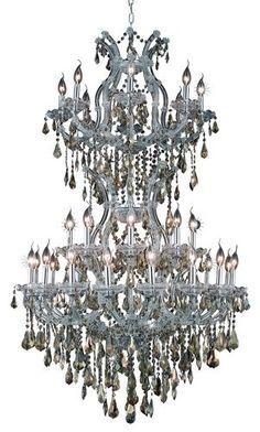 2801 Maria Theresa Collection Large Hanging Fixture D36in H56in Lt:32+2 Chrome Finish. 2801 Maria Theresa Collection Large Hanging Fixture D36in H56in Lt:32+2 Chrome Finish (Royal Cut Golden Teak Crystals) Watts:Lumens:Lamp Type:Shape:Style:TransitionalLight Bulbs:34Bulb Type:E12Bulb Wattage:40Max Wattage:1360Voltage:110V-125VFinish:ChromeCrystal Trim:Royal CutCrystal Color:Golden Teak (Smoky)Hanging Weight:122Case Pack: 1Color: Golden Teak (Smoky)