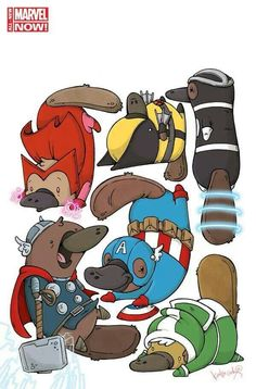 Marvel characters as cute little platypus
