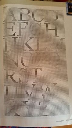 Duplicate stitch alphabet Crochet Alphabet, Crochet Letters, Cross Stitch Alphabet Patterns, Cross Stitch Letters, Cross Stitch Borders, Cross Stitch Baby, Cross Stitch Rose, Cross Stitch Designs, Cross Stitching