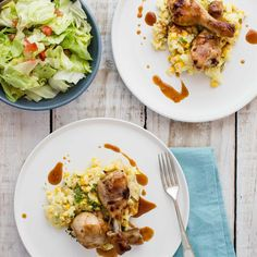 Sticky Chicken Drums with Corn and Coriander Potatoes Sticky Chicken, Corn On Cob, Baby Potatoes, Chicken Drumsticks, Chicken Legs, Coriander, Tomato Sauce, Lettuce, I Foods