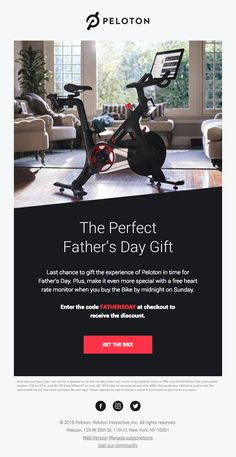 Last Chance To Gift Dad the Peloton Bike - Really Good Emails Page Layout Design, Blog Layout, Web Layout, Blog Design, Email Design Inspiration, Layout Inspiration, Peloton Bike, Email Marketing Design, Father's Day