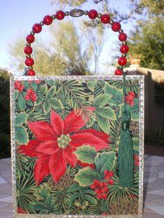 Christmas Poinsettia Cigar Box Purse
