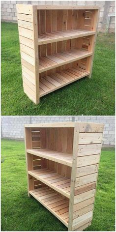 What this unique creation of wood pallet is all about? Well this project of wood pallet is a piece of decoration in the form of bookshelf to ideally locate in your house corner setting. It is divided into the shelving divisions. It is much easy to design. Wooden Pallet Shelves, Diy Pallet Sofa, Diy Pallet Projects, Wooden Pallets, Wooden Diy, Pallet Furniture, Wood Projects, Woodworking Projects, Pallet Bench