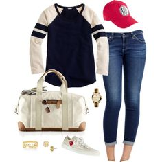 A fashion look from August 2014 featuring sweat shirts, denim jeans and flat shoes. Browse and shop related looks.