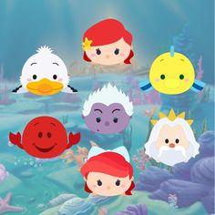 Krafty Nook: Tsum Tsum - Little Mermaid Fan Art Disney Magic, Disney Art, Disney Movies, Disney Pixar, Tsum Tsum Party, Disney Tsum Tsum, Tsum Tsum Princess, Tsum Tsum Characters, Disney Characters