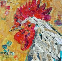 """Nancy Standlee Fine Art: """"Mr. Rooster"""" ~ Painted Paper Mixed Media Collage ~ Rooster Collage Painting by Texas Contemporary Artist Nancy Standlee"""