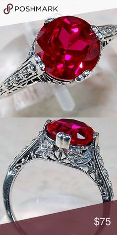 Beautiful 2ct Natural Ruby Ring.925 Silver Sz 7 Beautiful 2ct Natural Ruby Ring.925 Silver Beautiful Victorian Style Filigree Ring. This ring comes in a gift box for easy giving. Size 7 Jewelry Rings #beautifuljewelryrings
