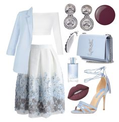 """""""Touch of the sky..."""" by sanela-enter ❤ liked on Polyvore featuring Chicwish, New Look, Dorothy Perkins, Versace, Yves Saint Laurent, Lime Crime, Essie, Orlane and NARS Cosmetics"""