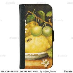 SEASON'S FRUITS LEMONS AND WHITE FLOWERS iPhone 6 WALLET CASE