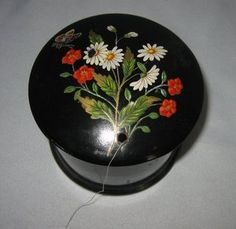 Antique Papier Mache Thread Holder Daisies Flowers Butterflies