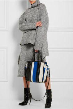 343881c99 Balenciaga - Bazar striped textured-leather tote. Stripes TextureWhite  TextureBlue StripesShopper ...