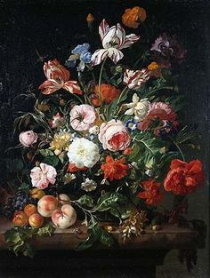 Rachel Ruysch - my favorite artist. And she paints FLOWERS. Go figure! But look at them! This woman was making a living as an artist in the 1700's WHILE she was raising 10 kids. Ten! OMG. Love her.