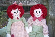 Raggedy Ann and Andy by granniesraggedybags on Etsy, $55.00