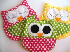 Big owl hot/ cold pack filled with rice-- Perfect gift for Christmas and as stocking stuffer. €15.00, via Etsy.