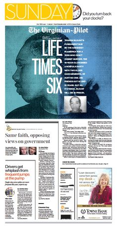 The Virginian-Pilot. Front page for Sunday, Nov. 3, 2013.