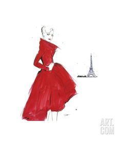 Dior and Paris Giclee Print by Jessica Durrant at Art.com