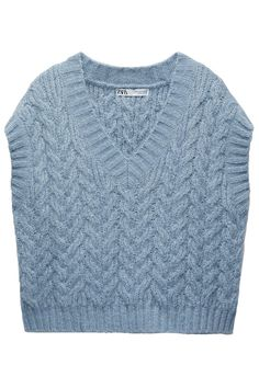 V-Neck Vest. Knit Vest, Knitting Ideas, Cable Knit, Zara, V Neck, Sweaters, How To Wear, Blue, Products