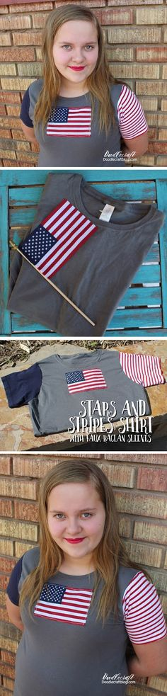 Doodlecraft: Stars and Stripes Shirt with Faux Raglan Sleeves!