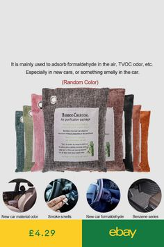 8 Color Car&Home Natural Bamboo Charcoal Air Purifying Bag Nature Air Purifier Smoke Smell, Charcoal Color, Air Purifier, Air Freshener, Bamboo, Cleaning, Car, Furniture, Kendall Charcoal