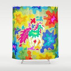 Splattered Unicorn Shower Curtain by That's So Unicorny - $68.00