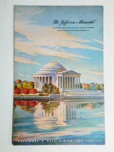 Jefferson Memorial B & O Train Menu Baltimore and Ohio