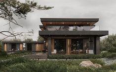 Minimal House Design, Modern Villa Design, Modern Exterior House Designs, Minimal Home, Dream House Exterior, Modern House Facades, Modern Bungalow House, Modern Architecture, Casa Patio