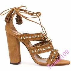 Women's Roman Open Toe Hollow Out Lace Up High Block Heel Gladiator Shoes Size