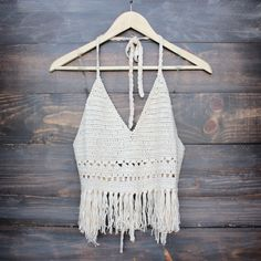 festival fringe crochet halter top in sand - shophearts - 1