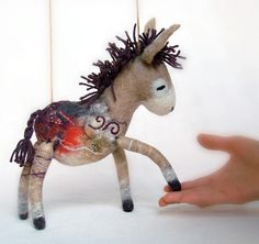 Claudia -  Donkey with felt legs. Art Toy . Marionette. Puppet. Felted, Stuffed Waldorf Toy.