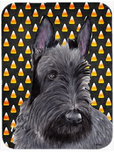 Scottish Terrier Candy Corn Halloween Portrait Glass Cutting Board Large