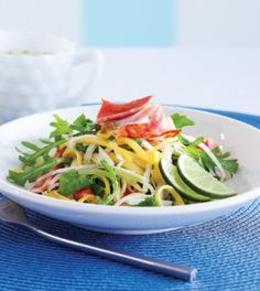 Maine lobster mixed with sweet mango and fresh jicama is topped with a refreshing cucumber vinaigrette in this recipe. Surprise your guests with this elegant salad that takes only 25 minutes make.