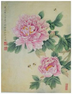 "Saatchi Art Artist Qin Shu; Painting, ""Pink Peony with breaths of fragrance Original Chinese Gongbi Painting by Qin Shu "" #art"
