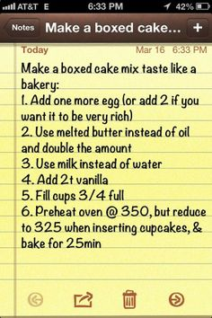 Make a boxed cake mix taste like a bakery cake. cake tast, box cake, cakes, bakeries, bakeri cake, food, cake mixes, cake better, dessert