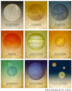 Nine 35x5 Solar System Prints Astronomy Space Art by meganlee on Etsy